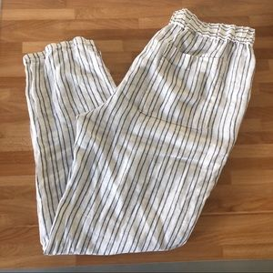 White Linen Pants w/ Blue stripes